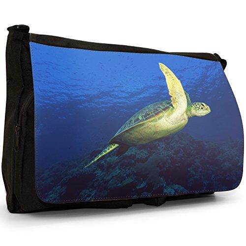 Mare di acqua dolce, motivo tartarughe che nuotano, colore: nero, Borsa Messenger-Borsa a tracolla in tela, borsa per Laptop, scuola Green Sea Turtle Swimming Sea