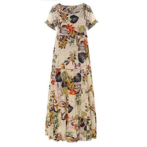 HDUFGJ Damen Leinen Kleider Sommer O-Ausschnitt gedruckt A-Linie Kleid Boho Knielang Kleid Kurzarm Party KleidXXXXXL(Orange)