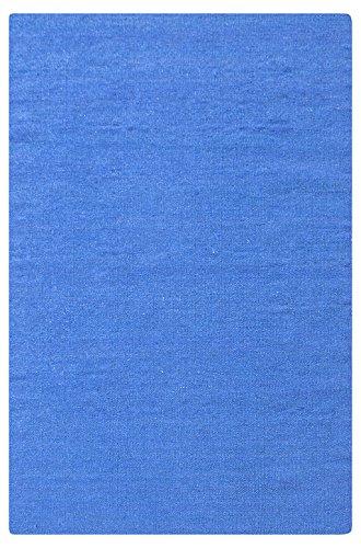 Morgenland Kelim Teppich FANCY 200 x 80 cm Läufer Blau Einfarbig Uni Kurzflor Handgewebt 100% Schurwolle Webteppich Kinderteppich Beidseitig verwendbar Für Wohnzimmer Kinderzimmer Bad Flur Küche Indoor Outdoor - In 11 versch. Farben, Viele Größen
