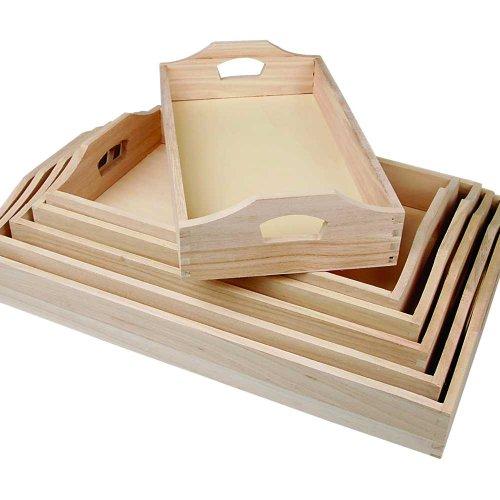 Creativ - Set di vassoi in legno, 6 pezzi