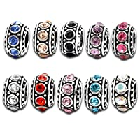 Souarts Mixed Antique Silver Color Spacer Beads with Rhinestone for Charm Bracelet Pack of 10pcs