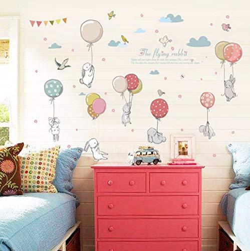 Zxfcczxf Kaninchen Ballon Wandaufkleber Kinderzimmer Dekoration Kindergarten Klassenzimmer Kunst Hintergrund Autocollant Wandbild55 * 70 Cm
