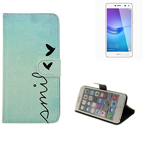K-S-Trade® für Huawei Y6 (2017) Single SIM Wallet Case Schutz Hülle Flip Cover Tasche ''Smile'', türkis