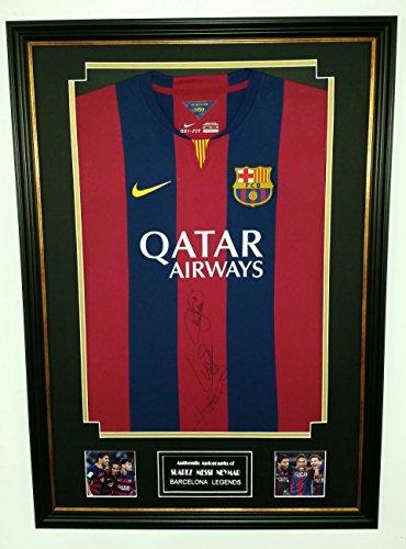 RARE-Lionel-Messi-NEYMAR-and-Luis-Suarez-OF-Barcelona-SIGNED-Shirt-Display