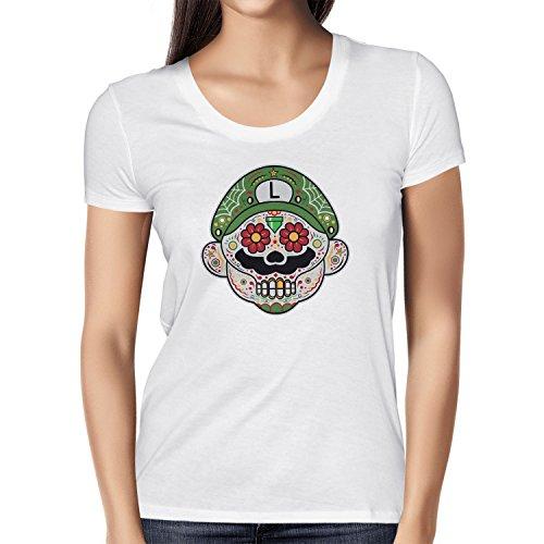 i - Damen T-Shirt, Größe S, weiß (Super Mario Maker Luigi Kostüm)