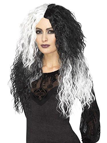 (Smiffys Damen Lange Glamour Hexen Perücke mit Wellen, One Size, Schwarz und Weiß, 45051)