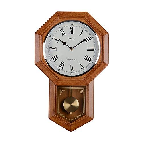 Hense 50,8cm antico retrò elegante imitazione legno Clocks ultra mute silenzioso movimento al quarzo Orologio da parete in legno con pendolo oscillazione, uso per soggiorno, KITCHENHP22