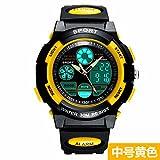 Lpan Outdoor Sports orologio maschio studente orologio elettronico digitale bambini ragazza impermeabile luminoso orologio elettronico, Medium yellow