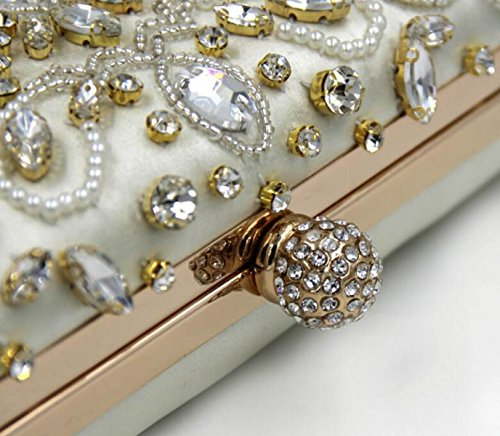 Strawberryer Sac à Broder En Perles De Diamant Sac à Main De Luxe à Haute Qualité Creamy