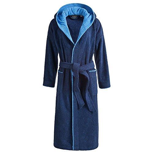 Egeria Cairo Bademantel Saunamantel mit Kapuze für Damen & Herren | Dark Blue/Atlantic Blue | Gr. M (Herren Frottee-bademantel)