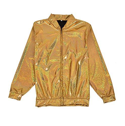 BFD Bomberjacke für Herren und Damen, metallisch, glänzend, leicht, Slim Fit Gr. Small/Medium, Gold