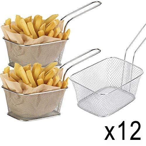 WEB2O-Juego de 12Minis cestas de Patatas Fritas Babá-Acero inonxydable-10x 8x 7cm