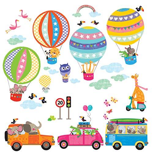 Decowall Transportiert Cars Hot Air Ballon Kinder Tiere Wand Sticker Wand Aufkleber Abziehen und Aufkleben Wiederablösbare Wandsticker für Kinder Kinderzimmer Schlafzimmer Wohnzimmer (Kinder-wand-sticker-cars)