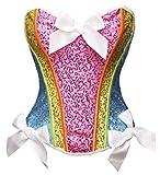 Bslingerie® Regenbogen Farbe Pailletten Vollbrust Korsett Corsage Korsagen (XXL - EU 42, Regenbogen)