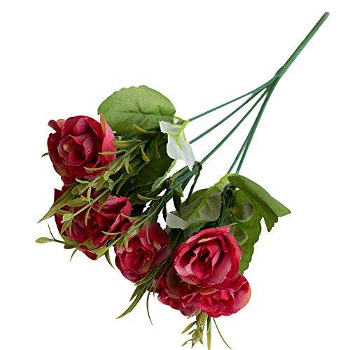 gzzebo Künstliche Rosen Begonie Blumen Pflanzen Haus Garten Büro Party Hochzeit Dekoration rot