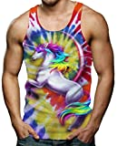 RAISEVERN Tank Tops Verano, Hombre Cool Unicornio Camisetas Sin Mangas Casuales Divertidas X-Grande