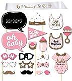 iLoveCos Babydusche Mummy To Be Satin Schärpe Babyparty Baby Shower Masken Foto Booth Props Fotorequisiten Neugeborene Baby Dame Junge Deko partydekoration Set (baby shower)