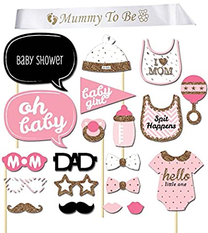 iLoveCos Mummy to be Sash Baby Shower Photo Props Kits on Sticks Boy Girl Party Decorations Gifts (baby