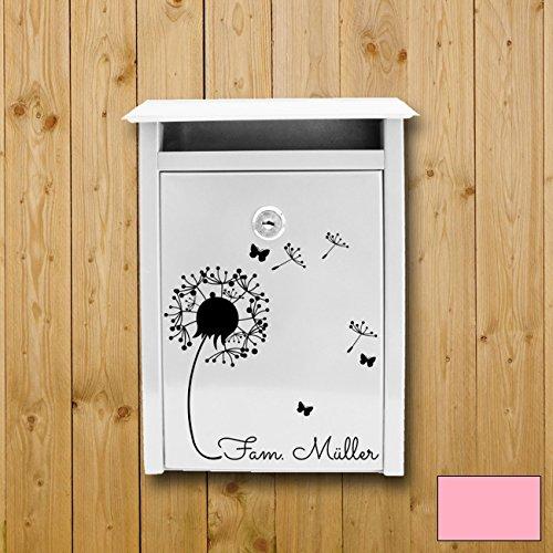 ilka parey wandtattoo-welt® Wandtattoo Briefkastenaufkleber Aufkleber Sticker Blume Pusteblume mit Familiennamen Wunschnamen M1877 ausgewählte Farbe: *rosa* ausgewählte Größe: *L - 32cm breit x 37cm hoch*