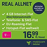 mobilcom-debitel Real Allnet im Telekom Netz (16,99 EUR monatlich, 24 Monate Laufzeit, Telefonie- und SMS-Flat in alle dt. Netze, EU-Flat, 4GB Internet Flat mit max. 42,2 MBit/s, Triple-Sim-Karten)