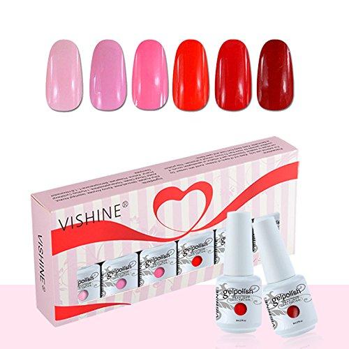 Vishine Coffret Vernis à Ongles Gel Soak Off Semi Permanente Gelpolish Lot 6 x 8ml Cadeau Kit C043