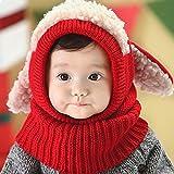 Aolvo Baby Girls Boys Toddler cappello invernale con paraorecchie sciarpa cappuccio sciarpe teschio tappi con orecchie Snow scaldacollo berretto in lana, regalo per bambini 6–48mesi Red