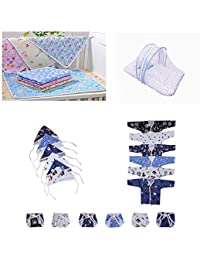 Fareto® New Born Baby Combo Pack of Daily Needs Item in One Pack 3 in 1/6 Baby Front Open Shirt,6 Caps, 6 Nappies/ 4 Plastic Changing Sheets/ 1 Mosquito Net Bed(0-3 Months)(Items-23Pcs) (Blue)