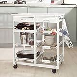 SoBuy® Carrito de servir, carrito de cocina, carrito con cajón, L67 x P37 x A75cm FKW04-W(blanco)