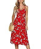 Yieune Sommerkleider Damen Casual Cocktailkleid Ärmellos Blumenmuster Kurzarm Strandkleid Party Abendkleid (Rot-Blumen S)