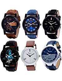 Foxter Pack of 6 Multicolour Analog Analog Watch for Men and Boys