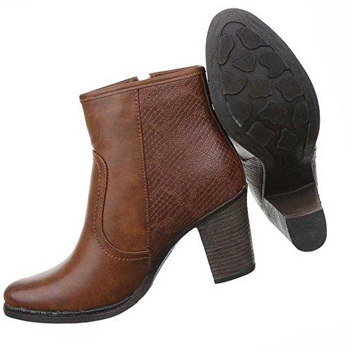 Damen Boots Schuhe Stiefeletten Schwarz Braun 36 37 38 39 40 41 Braun