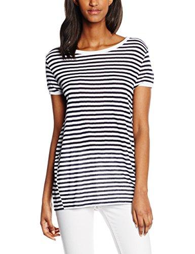 Hilfiger Denim Damen T-Shirt Stripe Bn Knit s/s 05, Weiß (Classic White/Navy Blazer-PT 100), 36 (Herstellergröße: S)