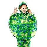 Poncio Impermeabile Unisex per Bambini per Viaggi. Attività all'aperto. Campeggio. Equitazione Verde/M