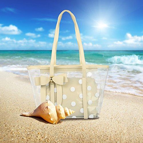 Vbiger Borse da Spiaggia Moda Tote bag impermeabile per Donna (Bianco con Nero) Gold