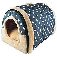 ANPI 2 en 1 Maison & Canapé d'Animal Familier, Machine Lavable Blanc Étoiles Antidérapant Pliable Doux Chaud Chien Chat Chiot Lapin Pet Nid Grotte Maison Lit avec Coussin Amovible, Grand