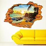 HALLOBO XXL Wandtattoo Wandaufkleber 3D Fenster Strand Sonne Meer Wandbild Wohnzimmer Schlafzimmer Deko Versand aus Deutschland