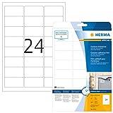 Herma 9532 Wetterfeste Outdoor Etiketten (63,5 x 33,9 mm) weiß, 240 Aufkleber, 10 Blatt DIN A4 Klebefolie matt, bedruckbar, extrem stark selbstklebend