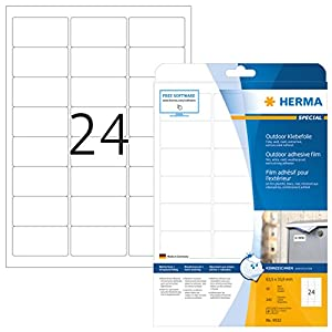 HERMA 9532 Labels A4 outdoor film 63,5x33,9 mm white extra strong adhesion film matt weatherproof 240 pcs.