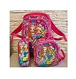 Schulranzen Ranzen 4 Teile mit Rollen Mädchen 3D Prinzessin Design Schulrucksack Rucksack Set 4 teilig Schulranzen Autos rosa groß Schultasche
