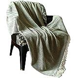RAJRANG Brown Tuch wirft Decke - Reversible Super weiche Baumwolle Warm Dekorative für Sofa und Couch 152 cm x 127 cm