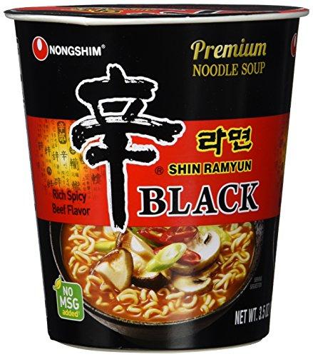 Nong Shim Instantnudeln Shin Ramyun Black - Koreanische Rindfleisch Cup Suppe scharf mit Knoblaucharoma - schnelle Zubereitung - 6er Vorteilspack à 100g