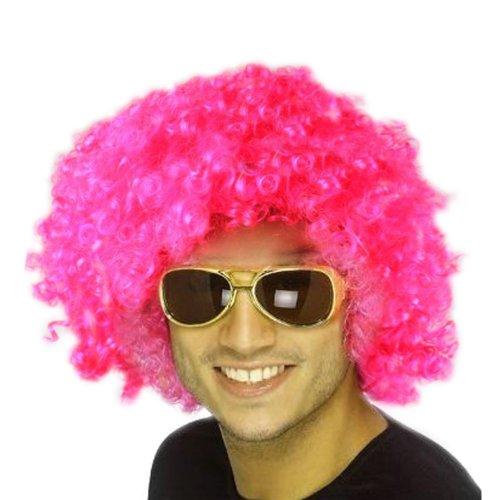 �cke Locken Wig Fasching Karneval für Herren Damen Kinder Kostüm Cosplay Gelockt (Rosa) (Farbige Perücken)