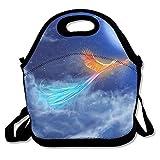 ziHeadwear Cool Blue Phoenix Neoprene Lunch Bag Insulated Lunch Box Tote for Women Men Adult Kids Teens Boys Teenage Girls Toddlers (Black)