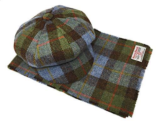 Harris Tweed Baker Boy Stil Mütze und Schal Blauer Tartan