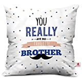 #5: Rakhi Gifts for Brother You are My Favourite Bro Colorful White Cushion Cover 16x16 - Gift For Bhai Bhaiya on his Birthday Anniversary bhaidooj