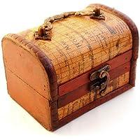 Forziere Ornament (Mappe) con colori in stile antico contenitore in legno per gioielli e piccoli oggetti Ganzoo - Piccole Scatole Decorative