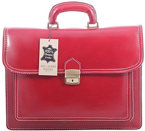 Organizer Da Valigetta Da Uomo Italiano, Vera Pelle 100% Made In Italy Rosso