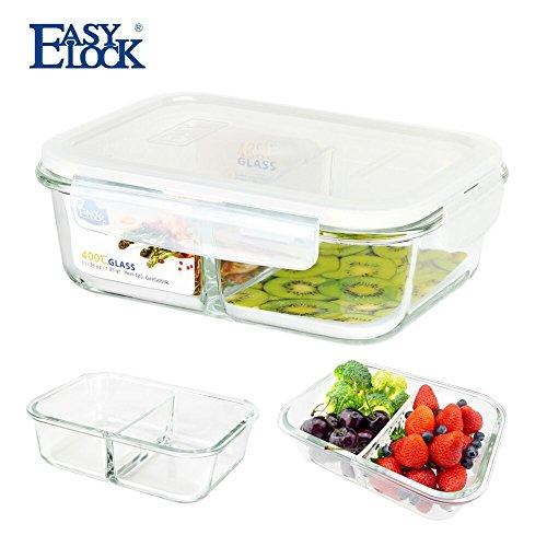 Comida Prep cristal recipientes de almacenamiento de alimentos 2compartimento con tapa de cierre sin BPA hermética de grosor cocina microondas horno 35oz/1040ml