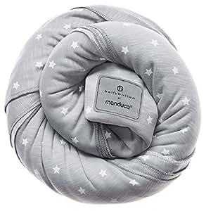 Babytragetuch bellybutton by manduca > MilkyStars < Exklusive Designer-Kollektion 100% Bio-Baumwolle GOTS-Zertifikat, 3 Bindeanleitungen, für Neugeborene und Babys bis 15 kg, grau mit weißen Sternen