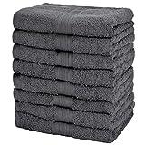 NatureMark, 100% katoen 8X badstof handdoeken, antraciet/grijs, 50 x 100 cm
